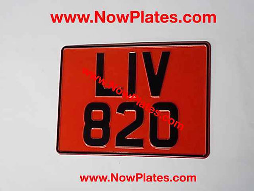 Square Retro Pressed Plate Large Font with a colour choice