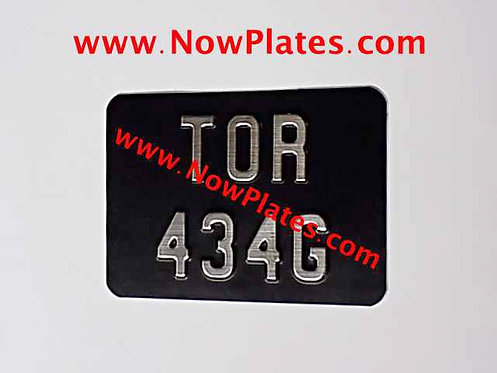 Brushed Chrome Pressed Motorcycle Number Plate 7 x 5ins