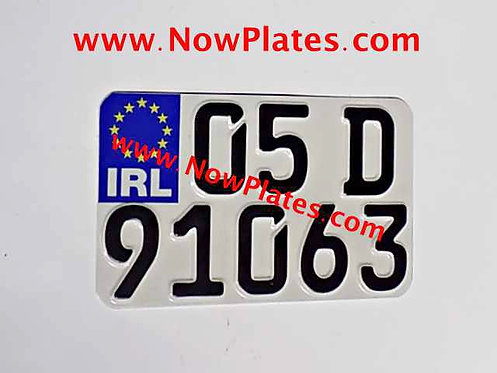 "IRL Pressed German FE Font Motorcycle Plate 7"" 1/2 x 4"" 1/2ins"