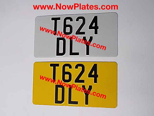 Pair of Plain Pressed Plates with Large No's and Colour Choice 330x165mm