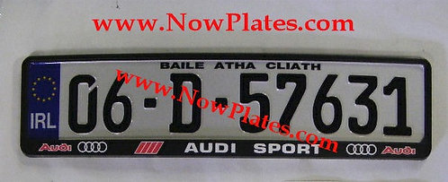 Pair of IRL German pressed Plates with Audi Sport Frames, Seals and Plakettes