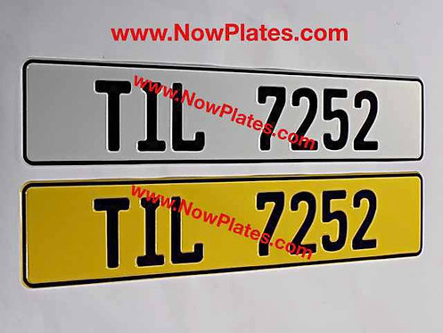 Retro Plain German FE Font Pressed Oblong Plates with a Colour Choice