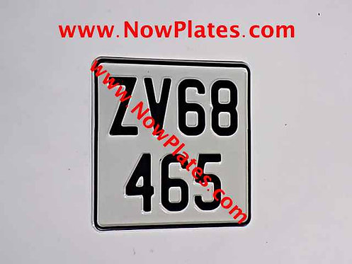 Pressed Motorcycle Plate 165 x 165mm with Border and Colour Choice / Medium (W3)