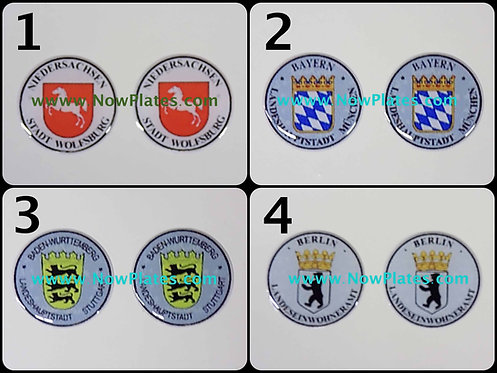 German Number Plate Stadt Seal Sticker x 2 of your choice