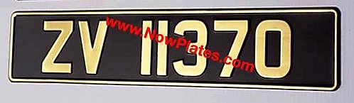 1 of Vintage Black and Gold Pressed Number Plate  (V35)