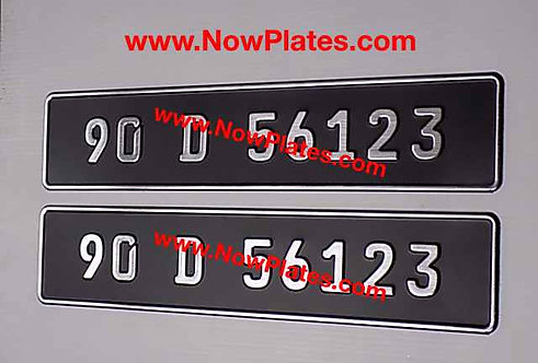 Pair of Small German Font Brushed Chrome Pressed Plates