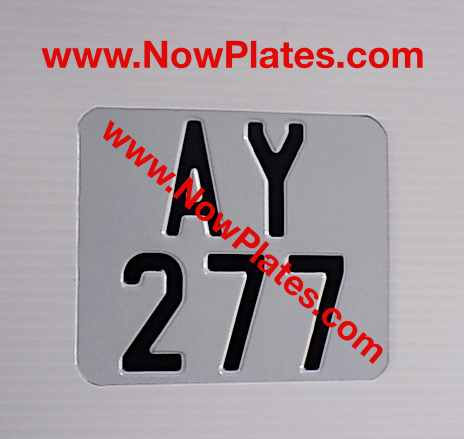 "Pressed Motorcycle Plate with a Colour Choice 6"" x 5""ins"