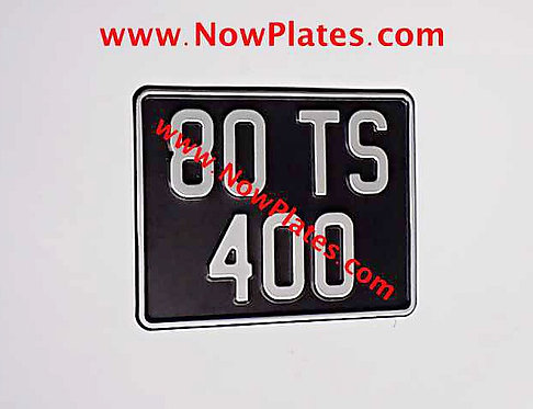 Black and Silver Pressed Motorcycle Plate with Border Medium No's 190x150mm