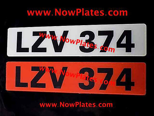 Pair of Retro Acrylic Plates Large Font with a colour choice X3