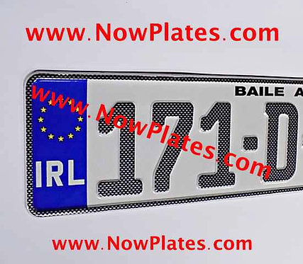 Carbon Fibre Look German pressed Number Plates with a Flag Choice