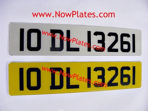 Pair of Retro Acrylic Plates Large Font with a colour choice X7