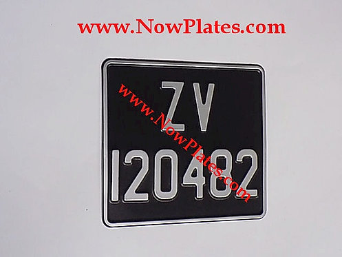 Black and Silver Pressed Motorcycle Plate with Medium No's + Border 200x180mm