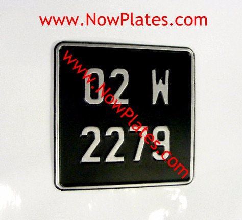 Black and Silver Pressed Motorcycle Plate with Border Small No's 165x165
