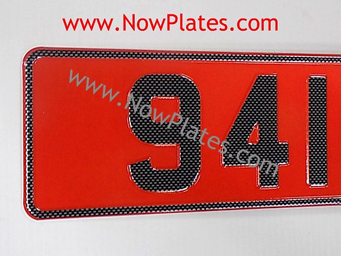 Carbon Look Retro Red and White Pressed Plates (CB2)
