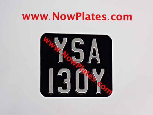 Small Black and Silver Pressed Motorcycle Plate with Colour and Size Choice (R2)
