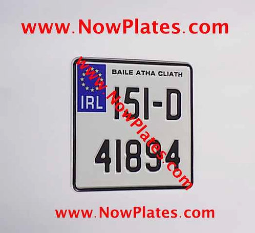 IRL Pressed Motorcycle Plate + Border 165x165mm or 180x200mm