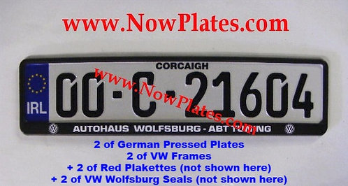 Pair of IRL German pressed Plates with VW Frames, Seals and Plakettes