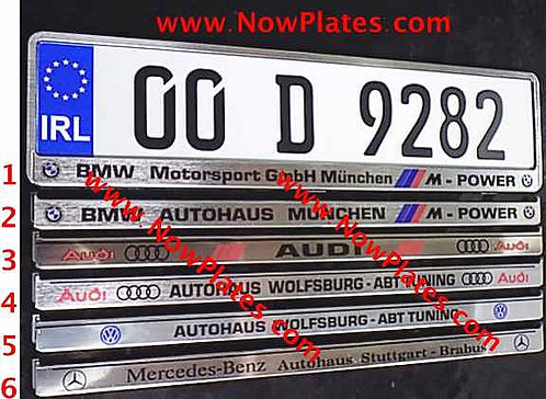 Pair of German Pressed Plates with Chrome Custom Frames