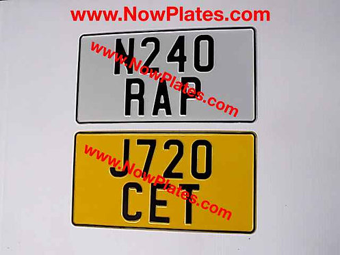 Pair of Plain Pressed Plates with Large  No's and Colour Choice 345x180mm
