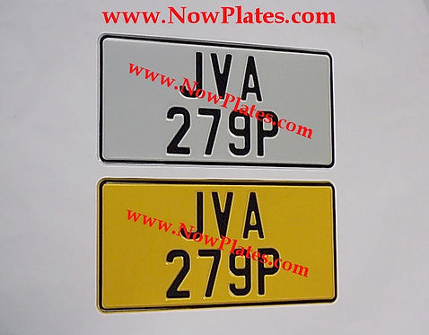 "Pair of Plain Pressed Plates with Medium No's and a Colour Choice 12"" x 6""ins"