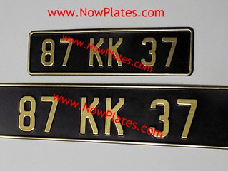 Vintage Pressed Number Plates Small Front + Square or Oblong with a Colour Choice