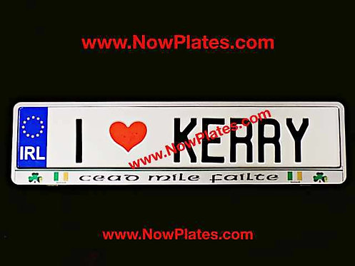 "I Love Your County Name or ""NAME"" White Oblong Pressed Plate + Frame if required"