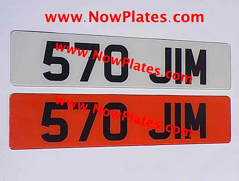 Pair of Retro Acrylic Plates Large Font with a colour choice X9