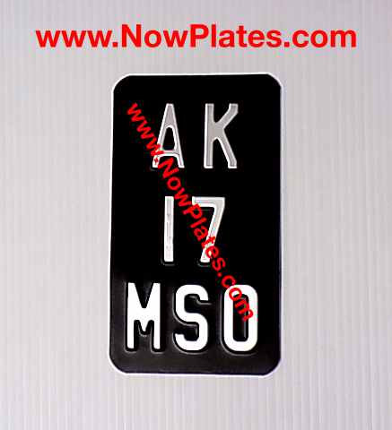 3 Line Metal Motorcycle Plate with size and colour choice