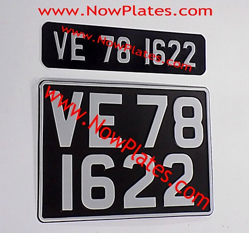 Vintage Black Pressed Plates Small Front + Square (W349)