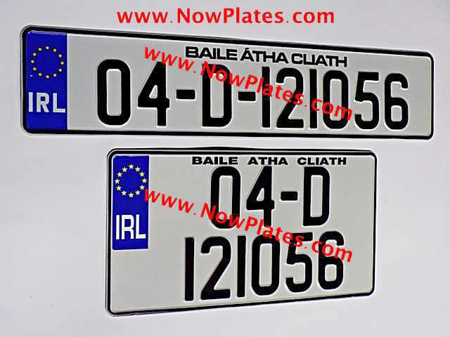 Irish NCT number plates that are suitable for Japanese import cars.