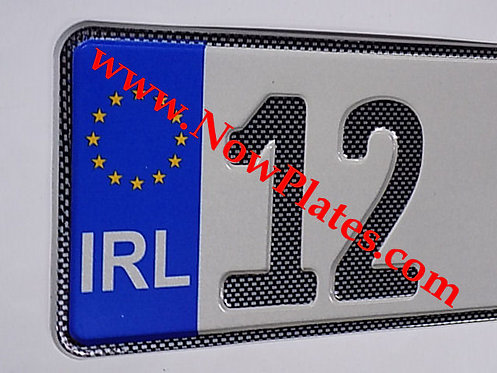 Carbon Fibre Look German Continental 7 pressed Number Plates with a Flag Choice