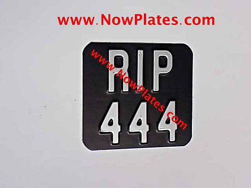 Small Black and Silver Pressed Motorcycle Plate with Size Choice