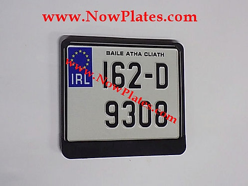 IRL Pressed Motorcycle Plate, Black or Chrome Frame if Required 190x150mm