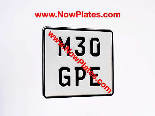 German Pressed Motorcycle Plate with a Colour and Size Choice (TR)