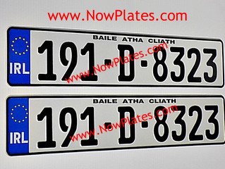 Irish Euro Blue band German Pressed Number Plates are available to order from our web shop.