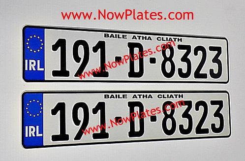 Pair of IRL German Pressed Number Plates
