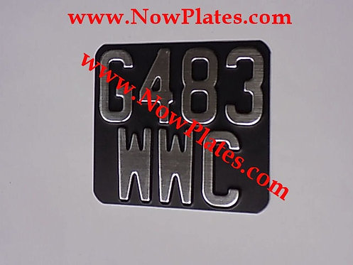 Black and Brushed Chrome Pressed Motorcycle Plate Medium No's 140x120mm