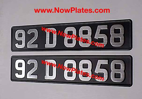 Pair of Vintage Brushed Chrome Pressed Number Plates