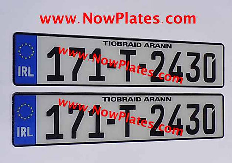 IRL German Acrylic Number Plates x2