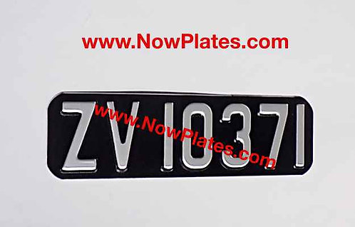Pressed Motorcycle Plate with Small No's with a Size and Colour Choice
