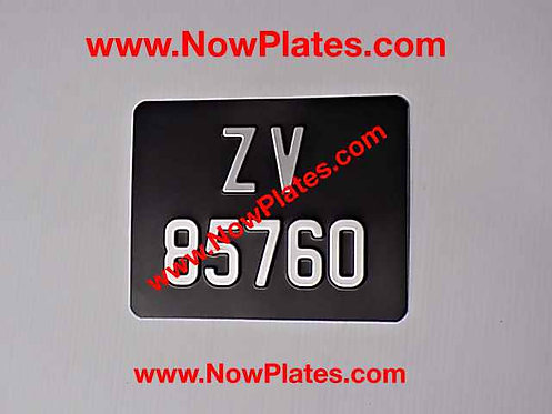 Pressed Motorcycle Plate with a Size and Colour Choice Medium No's G9