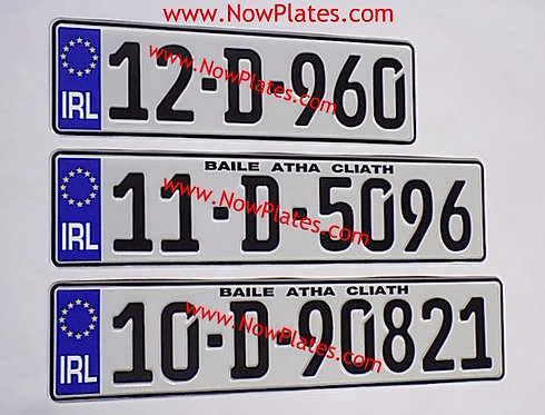Small Front German FE Font or NCT Pressed Plate with a Flag and Size Choice (E4