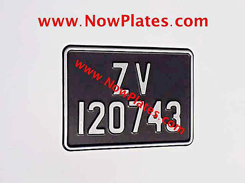 Motorcycle Plate with Small No's + Border 175x125mm with a Colour Choice.