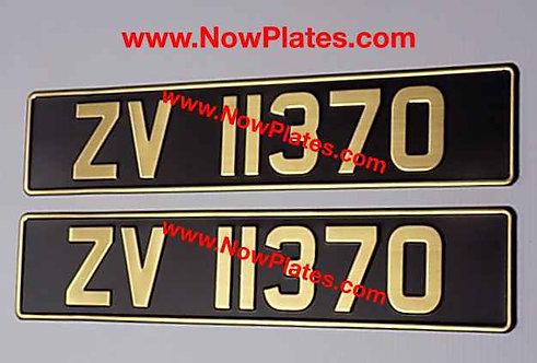 Pair of Vintage Black and Gold Pressed Number Plates