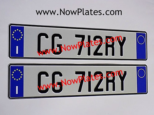 Pair of Italian pressed Plates with 2 blue bands( ITI2BNDC)
