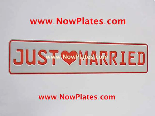 Just Married Pressed Plate Red and White Oblong
