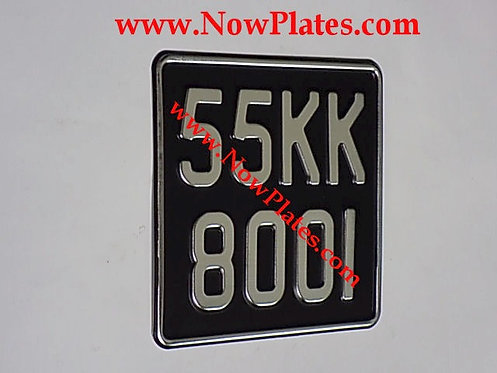 Black and Brushed Chrome Pressed Motorcycle Plate with Border Medium No's165x165