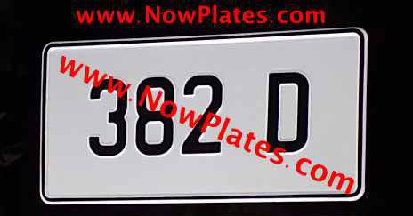 Square Retro Pressed Plate 70mm Font with a colour choice