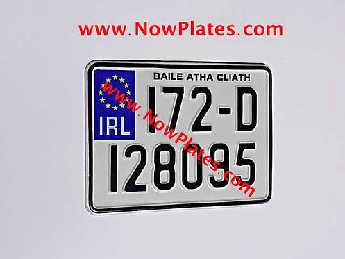 IRL Pressed Motorcycle Plate + Border 175 x 125mm