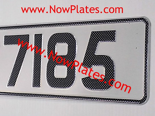 1 ONLY Carbon Look Retro White, Red or Yellow Pressed Plate (CB1))